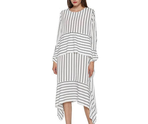 Women's striped casual dress with long sleeve and asymmetrical style
