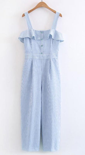 Strap Off Shoulder Ruffles Striped Jumpsuits