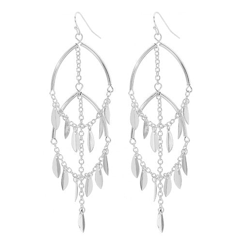 Women's high quality 3 colors double leaf pendant earrings