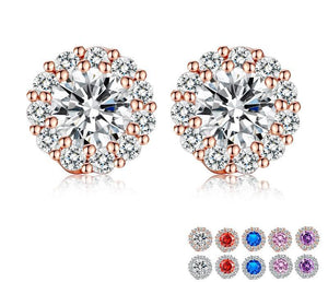 Five Color Round Crystals Stud Earrings