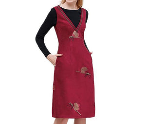 Wine Red Sleeveless casual dress