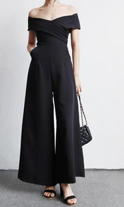 casual full length solid chiffon jumpsuits for women