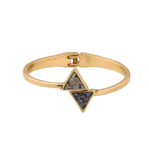 Women's triangle cuffed bracelet with natural stone