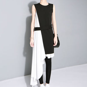 Women's Chiffon spaghetti strap with black slim tank sleeveless dress