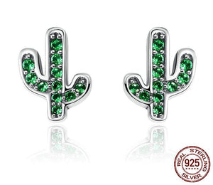 Sterling Silver Dazzling Green Cactus Crystal Stud Earrings for Women