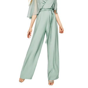 Women's elegant contrast half sleeve high waist jumpsuit
