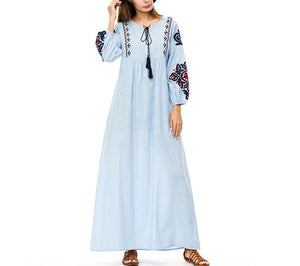 Elegant ethnic Embroidery maxi dress for women