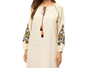 Women's Vintage ethnic maxi dress with tassel drawstring