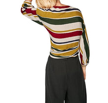 Women's long sleeve multicolor waist belt blouse