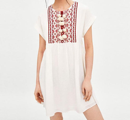 Women's Casual Short Sleeve dress with embroidery