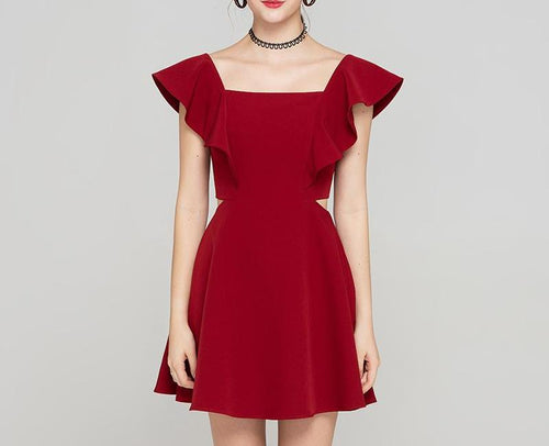 Women's butterfly sleeve slim A-line red dress