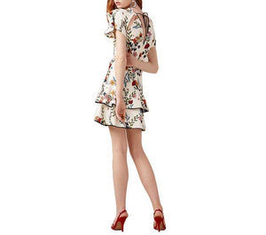 Women's V-neck layered frill mini dress with floral print