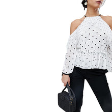 Women's spaghetti strap cold shoulder dot print blouse