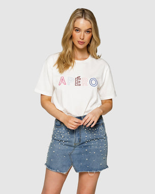 Embroidered Tee - Apero White/Multi Outline