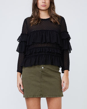 Harlow Dobby Top - Black