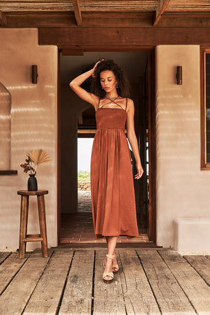 Sunray Strap Dress - Nutmeg