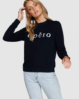 Embroidered Jumper - Apero Navy/White