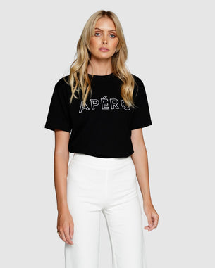 Embroidered Tee - Apero Black/White Outline