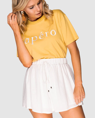 Embroidered Tee - Apero Yellow/White