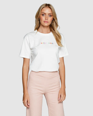Embroidered Tee - Apero Label White/Multi