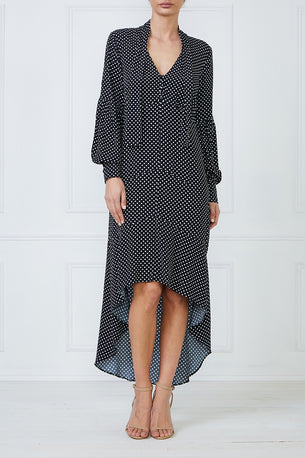 Opal Maxi Dress - Black Polka Dot