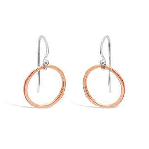 Rose Gold/Sterling Silver Open Circle Earrings