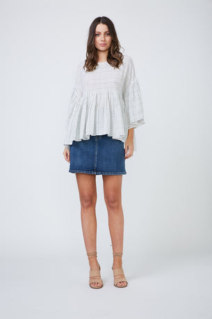 Elinor Top - White/Black Check