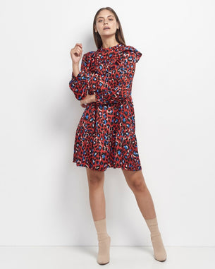 Korie Leopard Dress - Red
