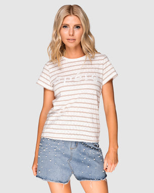 Beaded Tee - Apero Beige Stripe/White Bead