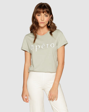 Femme Embroidered Tee - Apero Washed Sage/White