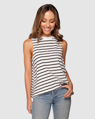 Embroidered Tank Top - Apero Black/White Stripe