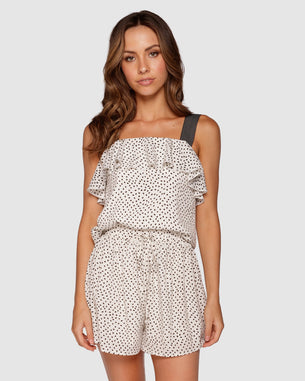 Dotty Frill Top - Off White/Black Spot