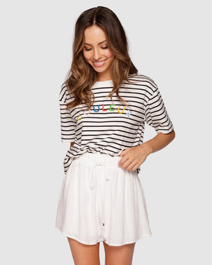Embroidered Tee - Couleur White/Black Stripe