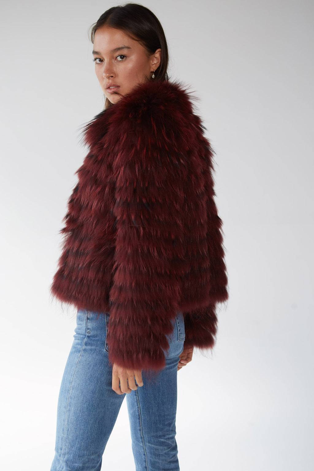 STEVIE Straight Cut Fur Jacket - Deep Plum