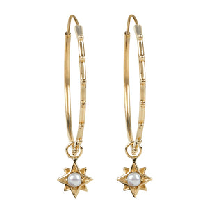 North Star Stud Hoops - Gold/Pearl