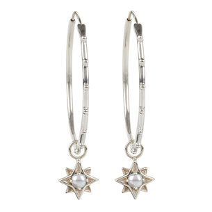 North Star Stud Hoops - Silver/Pearl