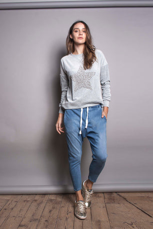 The Slouchy Velour Sweat - Grey Star