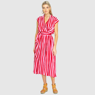 The Point Dress - Whippy Stripe Red/Pink