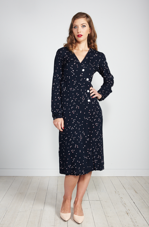 Long Sleeve Button Wrap Dress - Navy Red/White Spot