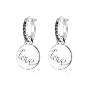 Love Mini Disc Earring - Silver & Black Onyx
