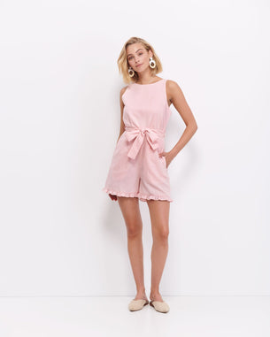 Flora Frill Jumpsuit - Rose Smoke