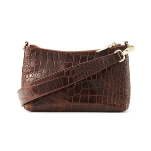The Christy Side Bag - Brown Croc