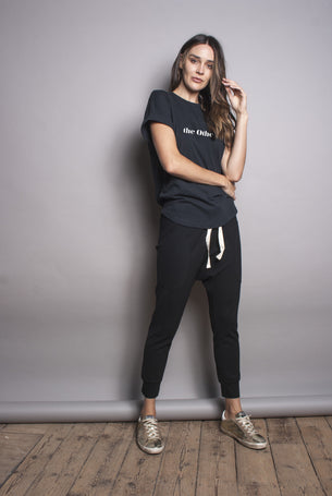 The Ponte Drop Crotch Pant - Black
