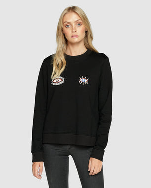 Beaded Look Out Jumper - Black
