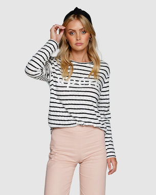 Parisienne Beaded Long Sleeve Top - Black/White Stripe