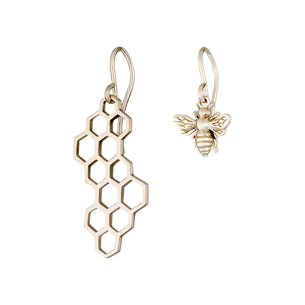 Gold Honeycomb and Bee Dangle Earrings