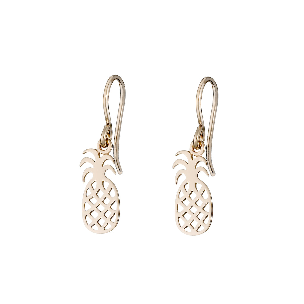 Gold Pineapple Charm Earrings
