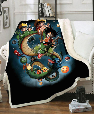 Blanket-Adult 80″x 60″-Shirt-Clothing-Jacket-Zip-Up-Dragon Freedom Fleece Blanket-VIO STORE