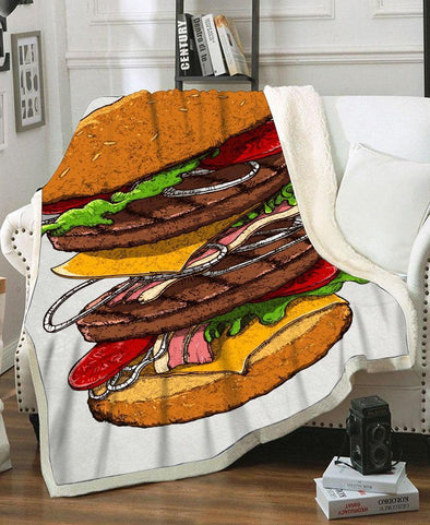 Blanket-Adult 80″x 60″-Shirt-Clothing-Jacket-Zip-Up-Hamburger Fleece Blanket-VIO STORE