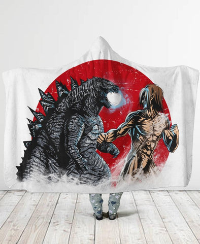 Attack on Titan-Adult 80″x 60″-Shirt-Clothing-Jacket-Zip-Up-Kaiju And Titan Hooded Blanket-VIO STORE